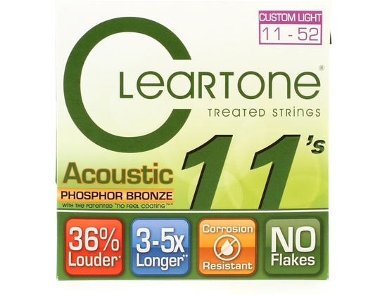 Cleartone 7411 EMP Phosphor Bronze Acoustic Guitar Strings .011-.052 Custom Light