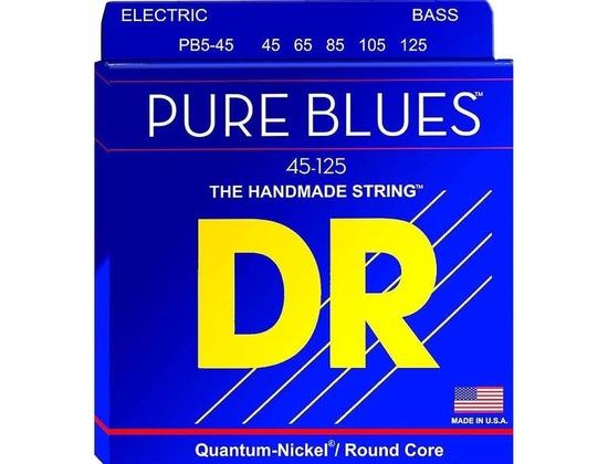 DR PB5-45 PURE BLUES QUANTUM-NICKEL BASS STRINGS, MEDIUM GAUGE 5's 45-125