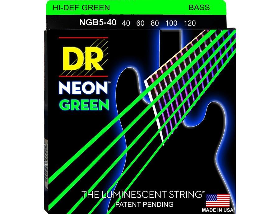 DR Strings Hi-Def NEON Green 5-String Bass Strings