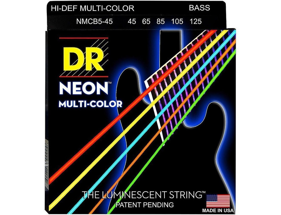 DR Strings Hi-Def NEON Multi-Color 5-String Bass Strings