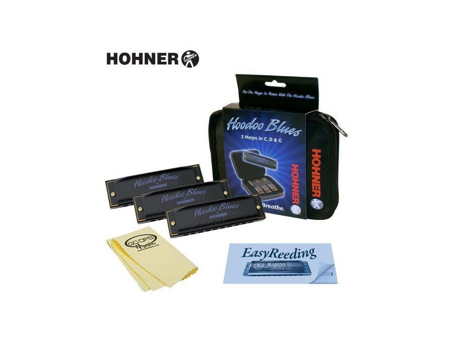 Hohner hoodoo blues harmonica 3 pack with case c d g xl