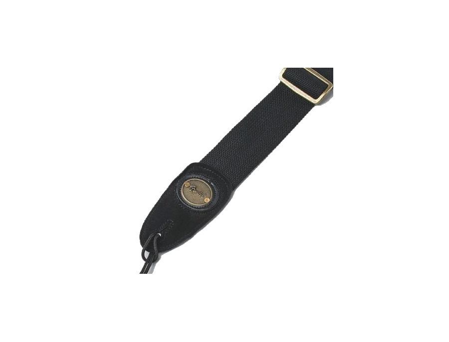 "Fender Guitar Strap 2"" Cotton Leather Black with Fender Logo"