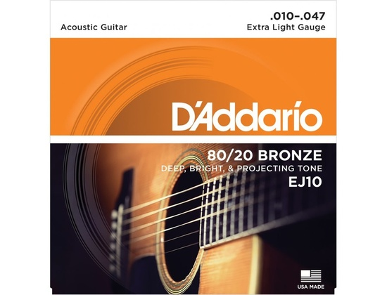 D'Addario EJ10 80/20 Bronze Acoustic Extra Light Strings