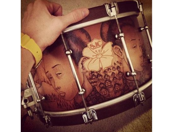 SJC Custom Snare - Custom Wood Burned Snare Drum