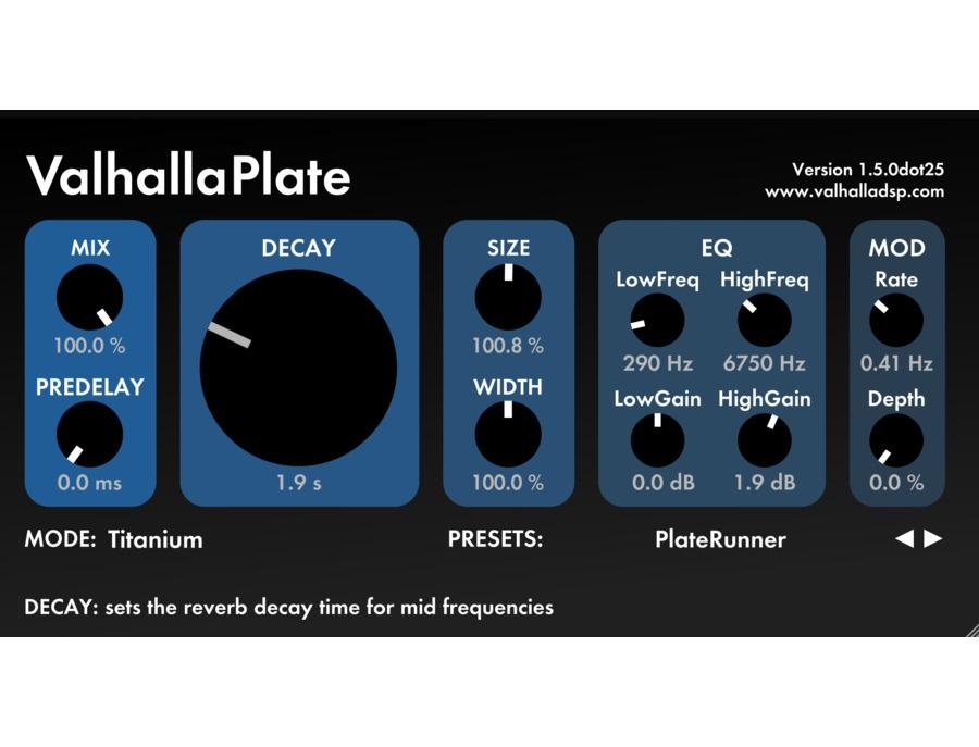 Valhalla dsp valhallaplate reverb plugin xl