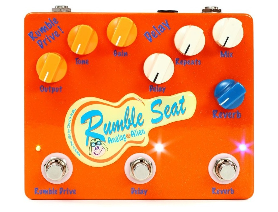 Analog alien rumble seat overdrive delay reverb pedal xl