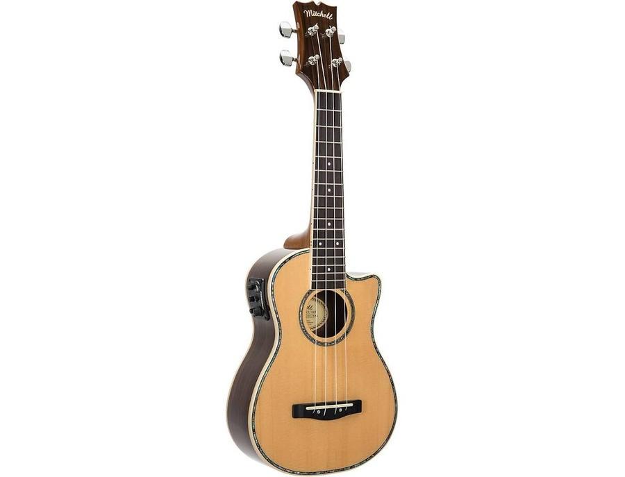 Mitchell mu70ce cutaway acoustic electric concert ukulele natural xl