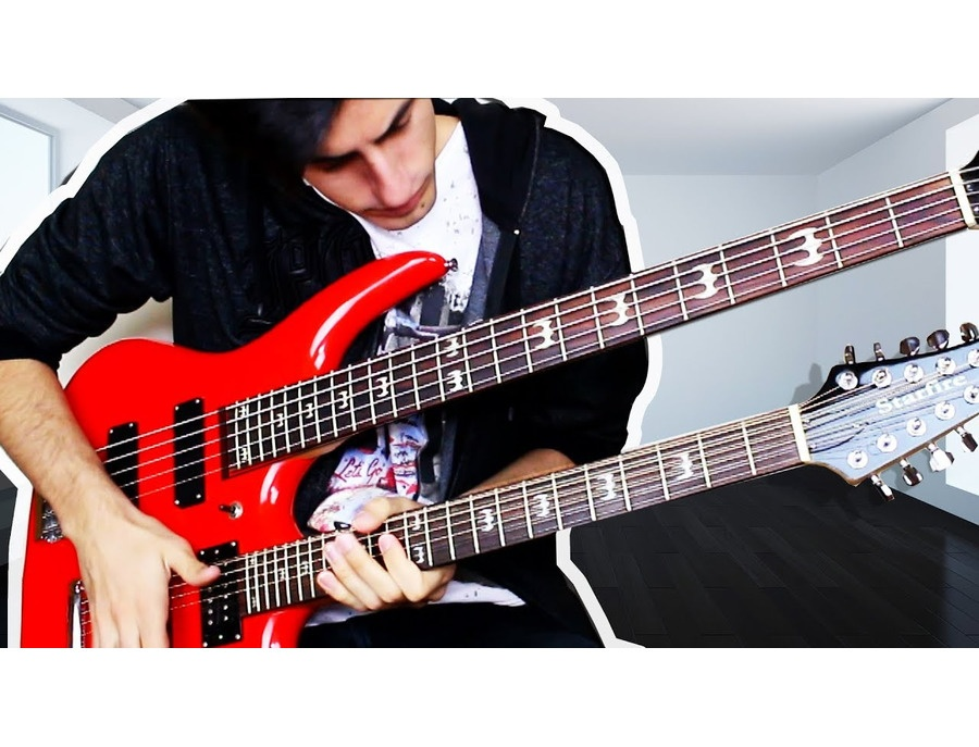 Starfire double neck bass and 12 string electric guitar flamed maple red xl