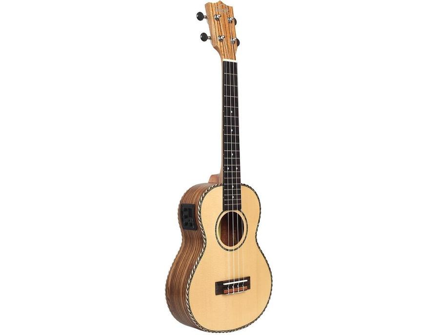 Tribute tri uk6eq zebra wood electric acoustic tenor ukulele xl