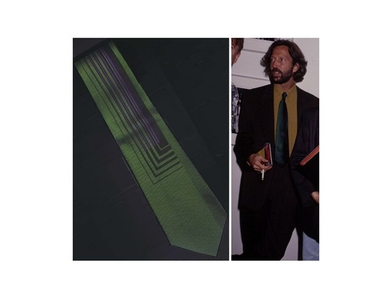 Gianni Versace Green & Purple Custom Made Silk Tie