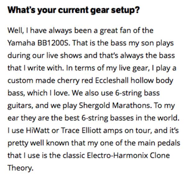 Peter Hook's Eccleshall Bass