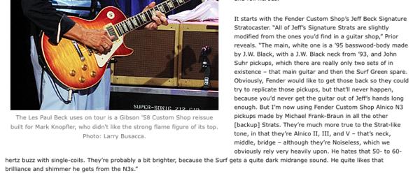 Jeff Beck's Fender Custom Shop Alnico N3 pickups