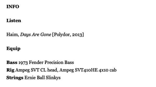 Este Haim's Ampeg SVT-CL Classic Bass Head