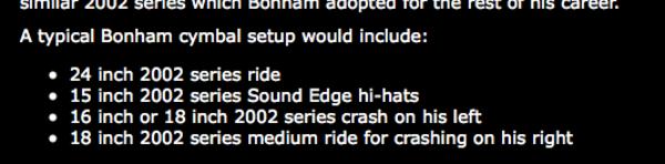 """John Bonham's Paiste 15"""" 2002 Sound Edge Hi-Hats"""
