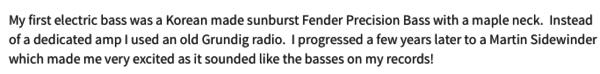 Jonathan Noyce's Fender Precision Bass