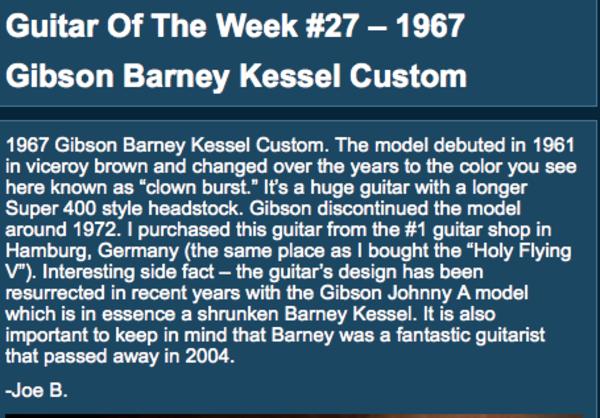 Joe Bonamassa's Gibson Barney Kessel Custom