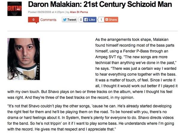 Daron Malakian's Fender Precision Bass