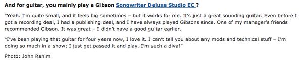 Ellie Goulding's Gibson Songwriter Deluxe Studio EC Acoustic Guitar