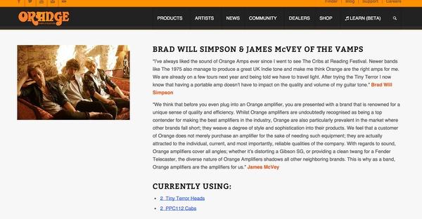 James McVey's Orange Tiny Terror 15 Watt Tube Amp TT15H