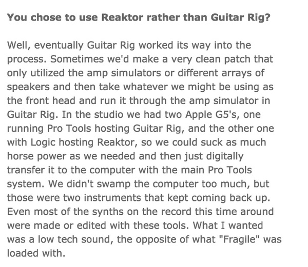 Trent Reznor's Native Instruments Reaktor Software Synthesizer