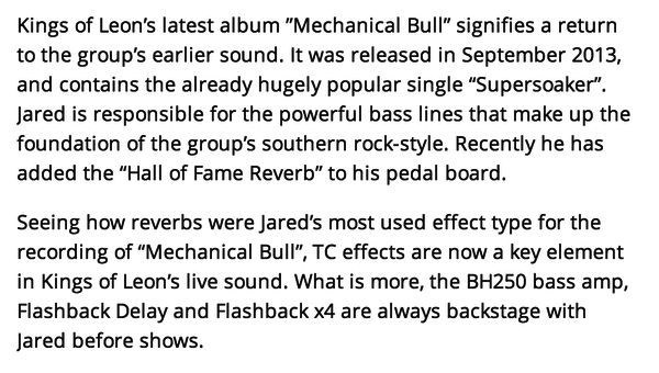 Jared Followill's TC Electronic Hall Of Fame Reverb