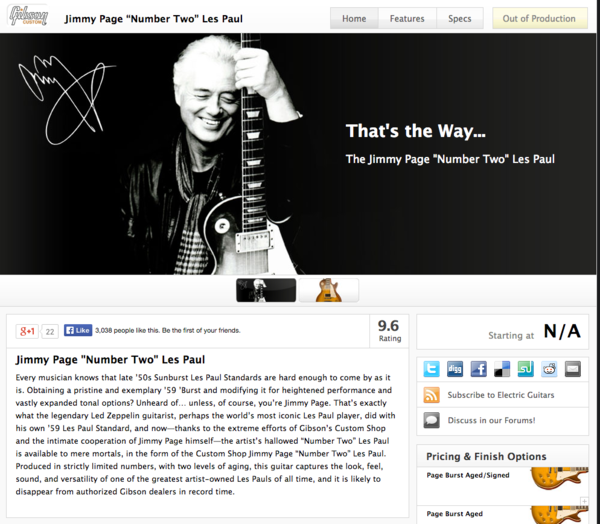 """Jimmy Page's Gibson Jimmy Page """"Number Two"""" Les Paul"""