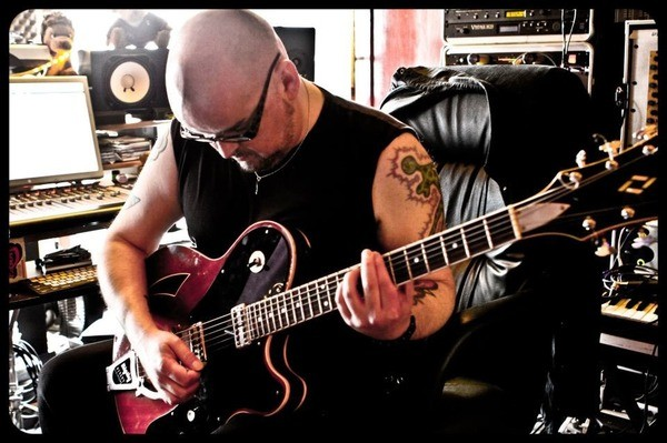 Alain Johannes's MotorAve BelAire Guitar With Bigsby - Red & Black
