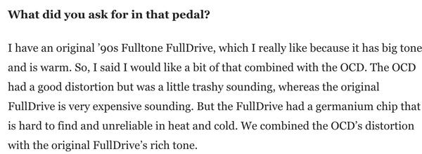 Robin Trower's Fulltone OCD Obsessive Compulsive Drive Overdrive Pedal