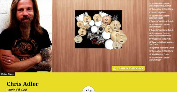 "Chris Adler's Meinl 14"" Soundcaster Custom Medium Soundwave Hihat"