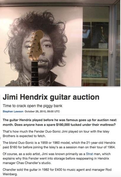 Jimi Hendrix's Fender Duo-Sonic Rosewood Blonde Electric Guitar