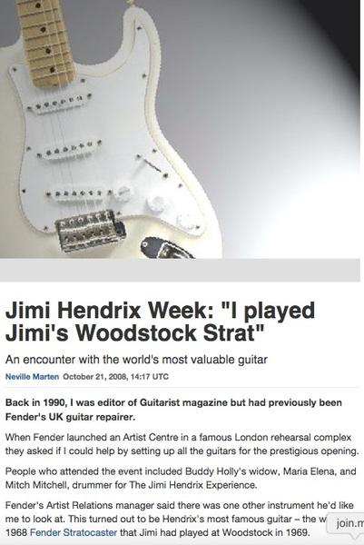 Jimi Hendrix's 1968 Fender Stratocaster Woodstock Electric Guitar