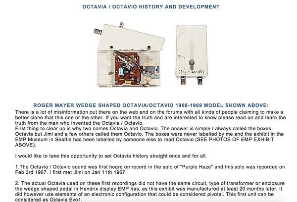 Jimi Hendrix's Roger Mayer Octavia Pedal